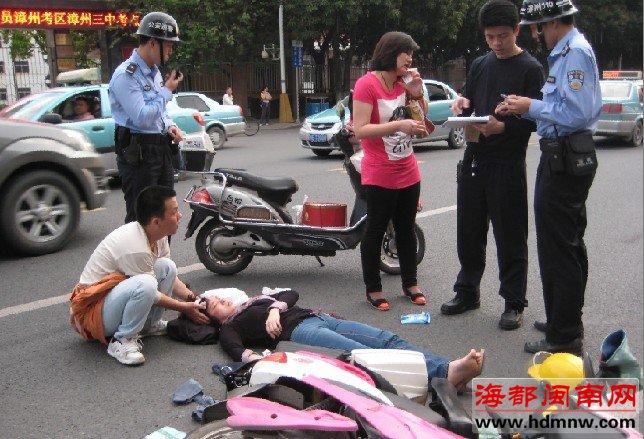 女子被撞破头路人及救助