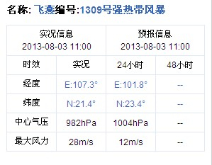 2013年第9号台风飞燕实况信息 8月3日11时发布