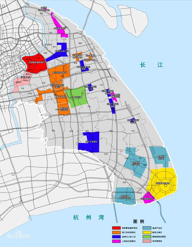 上海自由贸易区范围(深紫色区域)