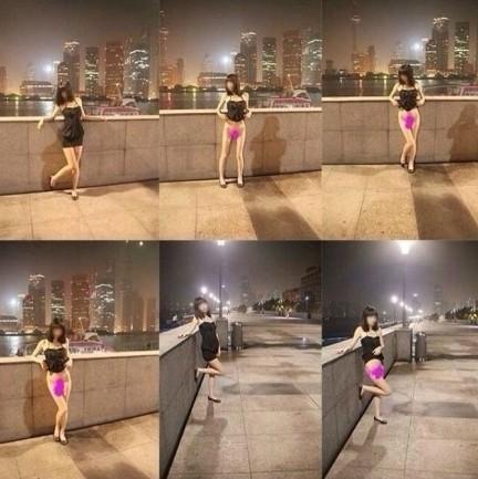 上海闹市裸拍女3