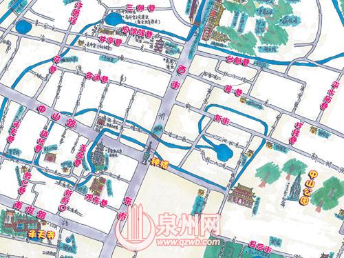 手绘泉州小巷地图