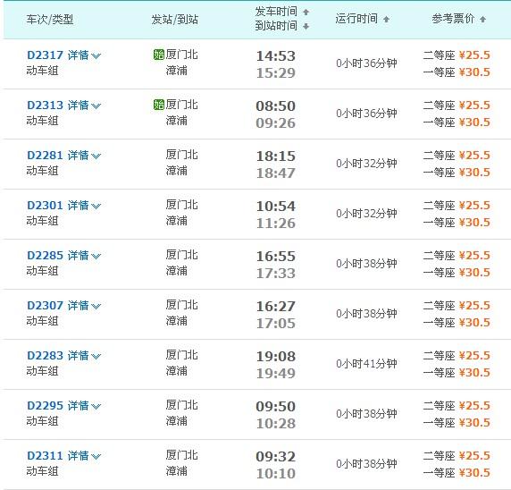 漳浦站到厦门北站动车时刻表