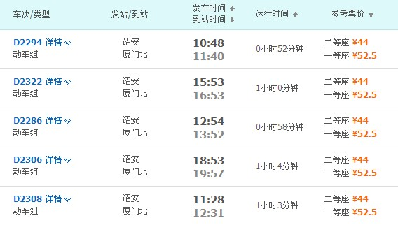诏安站到厦门北站动车时刻表
