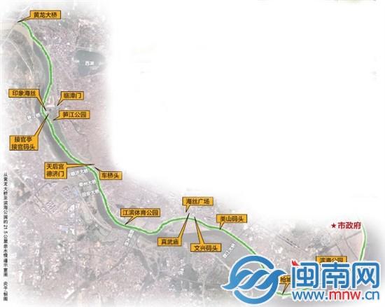 从黄龙大桥至滨海公园的21.5公里亲水慢道示意图  炎平/制图
