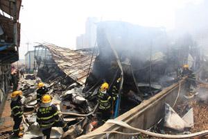 晋江池店安置房二期移动板房大火现场高清组图 无人伤亡