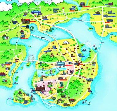 地图以活泼简洁的笔调,详细标注厦门的市区级图书馆及各分馆,24小时