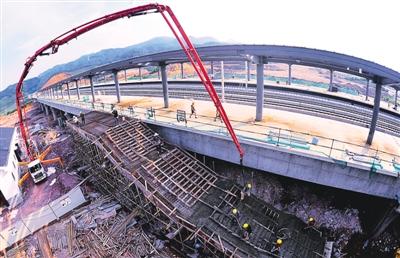 合福高铁建瓯西站站房主体结构已经完工
