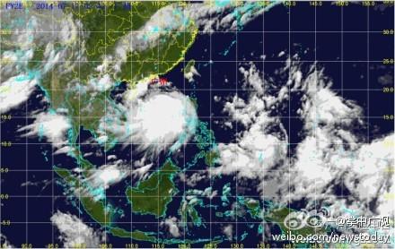 """台风""""威马逊""""卫星云图-广东受台风威马逊外围云带影响 广州今日起图片"""
