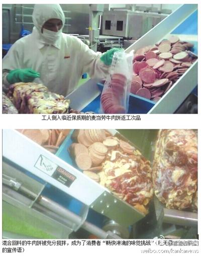 工人倒腾入挨近保质期的麦当劳动牛肉饼返工等外面品
