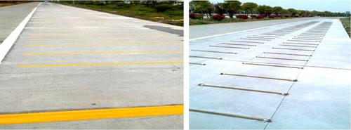 试车跑道:正弦路(左);绳索路(右)